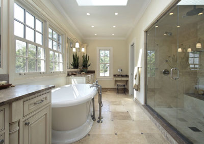 Slab Vanities, Curb and Shower Seat